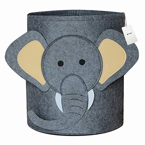 Fieans Filzkorb Kinderzimmer Aufbewahrungskorb Faltbare Wäschekorb Schön Tier Aufbewahrungsbox für Spielzeug Kleidung - Elefant