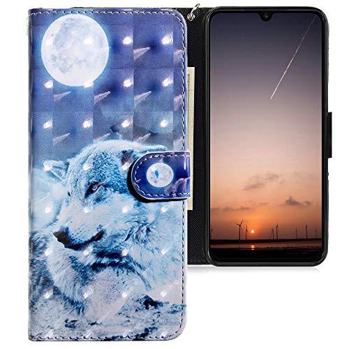 CLM-Tech Funda Compatible con Xiaomi Mi 9 SE, Carcasa Cuero sintético con Soporte y Ranuras para Tarjetas, Lobo Luna Azul Blanco