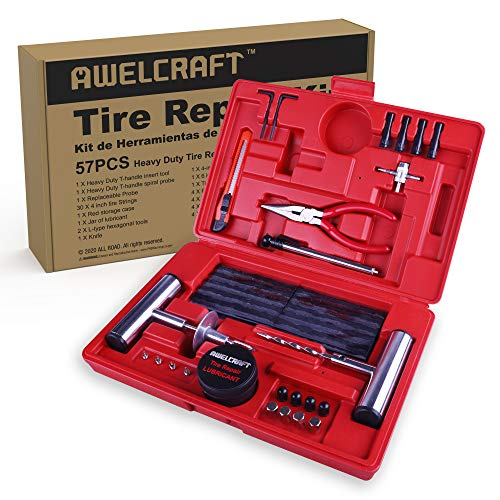 AWELCRAFT Heavy Duty Tire Repair Tools Kit - 57 PCS Set Truck Tool Box for Motorcycle, ATV, Jeep, Truck, Tractor Flat Tire Plug Kit
