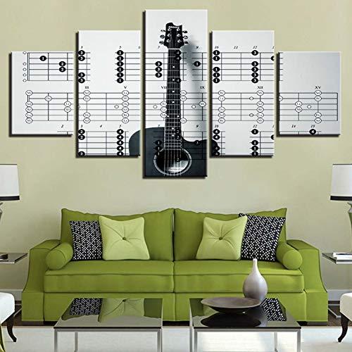 UDPBH Decoratie thuis, HD-printer, canvas, 5-delig, Wall Art gitaarfoto, voor slaapkamer kunst poster 20x35cmx2 20x45cmx2 20x55cmx1 No Frame