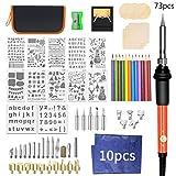 wuzhou Knitting Needles Set In Case 73Pack Wood Burning Carving Pyrography Pen Adjustable Temperature Soldering Iron DIY Knitting Kit Orange with Black 260X145Mm/10.24X5.71In