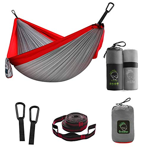 Grassman Double Portable Camping Hammock Bundle with Microfiber Fast Drying Camping Towel, 39''x71''
