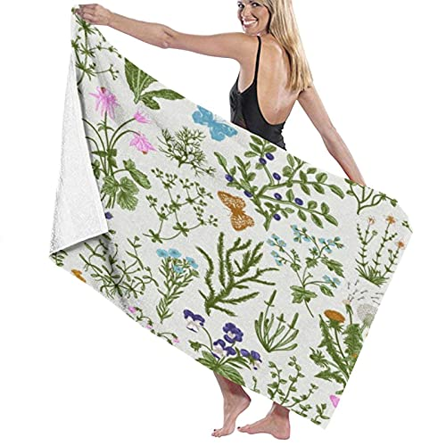 KAYLRR Toallas de baño,Vintage Floral Herbs and Wild Flowers,Super Soft,High Absorbent,Large Towel Blanket for Bathroom,Beach or Swimming Pool,52' x 32'