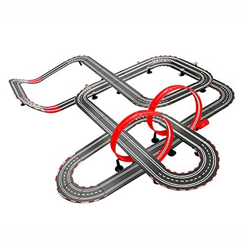 JINGXIU 1:43 pista eléctrica ferrocarril de control remoto coche tren juguete Autorama Racing Track Circuit Voiture Slot Coche Ferrocarril Juguete para niños (Color: 14,2 m)