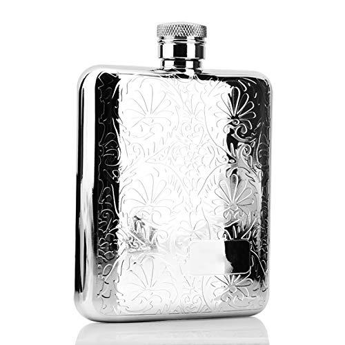 Homeland Frasco de Cadera de Acero Inoxidable 304 con Embudo, Frasco de Bebida de Alcohol de Bolsillo de 6 oz / 170 ml Frasco de Licor de Whisky para Hombre (Color : Silver, Size : 6oz/170ml)