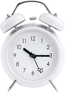 """PILIFE 5"""" Twin Bell Alarm Clock with Backlight, Loud Alarm to Wake You Up, Silent Working Perfect for Bedroom and Work(White)"""