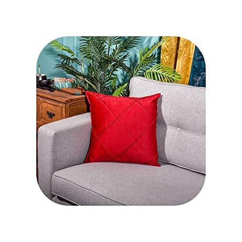 Embroidery Plaid Geometric Color Blue Velvet Cushion Cover Pillow Cover Pillowcase Home Decorative Sofa Throw Pillow-E-450mm450mm