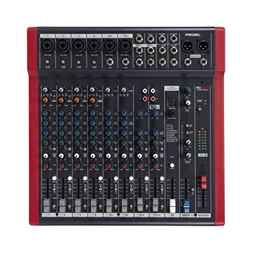 Proel MQ ultra-compacte mixer voor Canto, Live en karaoke, zwart/rood MQ12USB