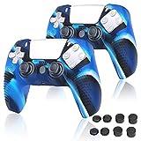 PS5 コントローラー カバー Sony Playstation 5 対応 シリコンケース コントローラー 保護アクセサリーセット コントローラー ケース プレイステーション5 保護カバー 耐衝撃 滑り止め 2個セット [ブルー]