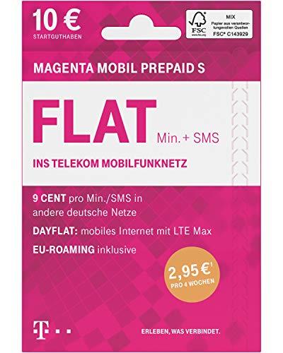Telekom MagentaMobil Prepaid S SIM-Karte ohne Vertragsbindung I Flat (Min, SMS) ins Telekom Mobilfunknetz & EU-Roaming I Surfen mit LTE Max per Dayflat (50 MB) für 1,46EUR/24h I 10EUR Startguthaben