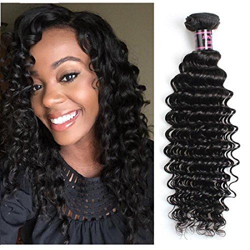 Extensions de Cheveux Premium Quality brésilien vague profonde Virgin Hair 100% brésilienne Weave cheveux seulement 1 Bundle 8A brésilienne 100g Curly Virgin cheveux naturels Couleur 1B , 18 inch
