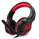 BUTFULAKE Gaming Headset, Audio Stereo Bass mit LED, Kopfhörer mit Controller Praxis, kompatibel für PS4, Xbox One, PC, Laptop, Tablet, Smartphone … (Rot)
