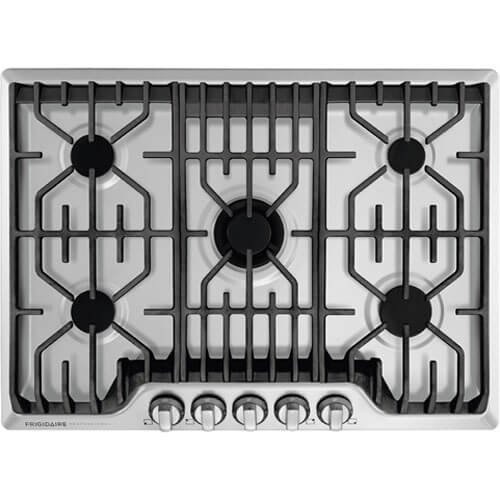 Frigidaire Professional 30-Inch Gas Cooktop, Stainless Steel, 5 Burners, Liquid Propane Convertible,...