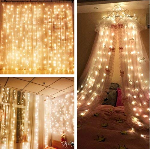 MZD8391 Curtain String Lights, 9.8 X 9.8ft 304 LED Starry Fairy Lights for Wedding, Bedroom, Bed Canopy, Garden, Patio, Outdoor Indoor (Warm White Curtain Light)