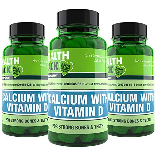 Calcium with Vitamin D 180 Capsules | High Strength Supplements for Bones & Teeth | 500mg of Calcium and 50iu of Vitamin D3 |