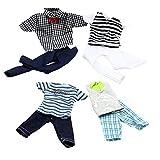 Lance Home 4 Ensembles Mini Mode À la Main Costume de Vêtements Décontractés Manches Courtes Damier Pantalons pour 32cm Poupées Style Aléatoire