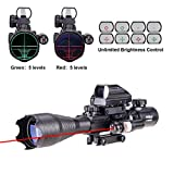 Pinty 3-IN-1 4-16x50EG Rifle Scope Dual Illuminated, with Red Laser and Holographic Red