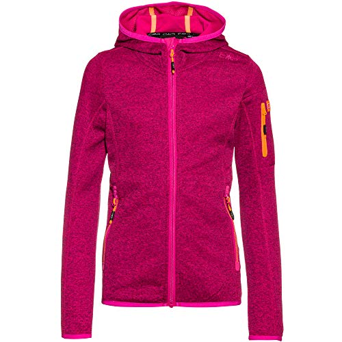 CMP Mädchen Hooded Knit Tech Fleece Jacke, Bouganville-Goji, 164
