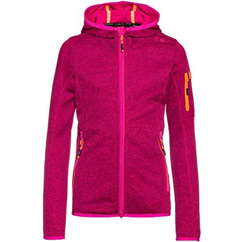 CMP Mädchen Hooded Knit Tech Fleece Jacke, Bouganville-Goji, 128
