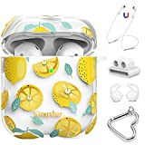 KINGXBAR AirPods Case 5 in 1 Clear Protective Hard PC AirPod Cover with Crystal from Austria for Apple AirPods 2 & 1, Cute Lemon Design for Girls Women