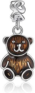 XIWEN Teddy Bear Dangle Charms, Love You Teddy Bear Baby Brown Enamel Pendant in 925 Sterling Silver, Cartoons Animal Bead...