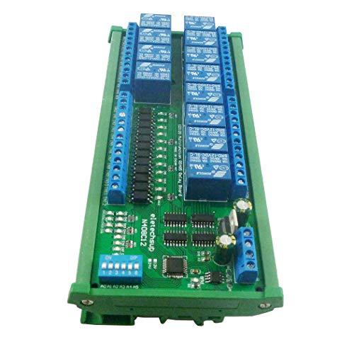 Eletechsup 12ch Digital Input Output UART RS485 Relay Module Modbus RTU DIN35 C45 Rail Box for PLC PTZ LED Motor Machine Control (12CH 12V with Rail Box)