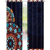 Cortinas de ventana que reducen el ruido, marco con motivos geométricos circulares de estilo marroquí, cortina opaca de 52 x 72 cm de ancho para sala de estar, multicolor
