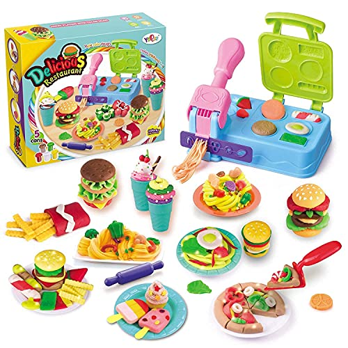 Pony Toy Play Color Dough Kitchen Creations Breakfast Burger and Pasta & Pizza Inspired Cookout Creations Play Food Barbecue Toy Grill'n Stamp Playset Ages 3 + with 5 Non-Toxic Compound Colors