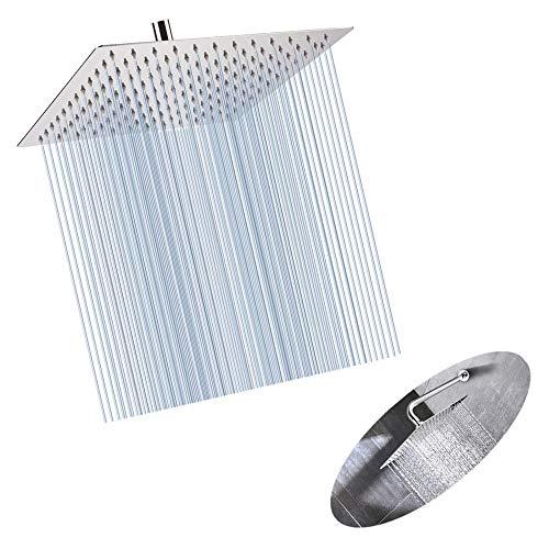 ZYZ douchekop, 10 inch roestvrij staal hoge druk gepolijst chroom waterval effect ultra dun 360 graden verstelbare zelf reinigen