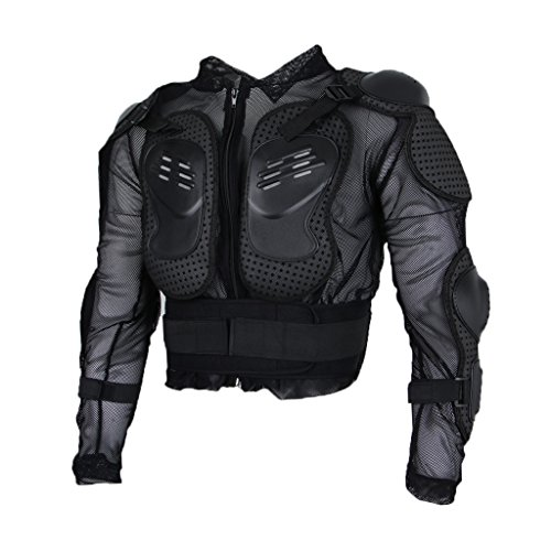 balikha Chaqueta de Moto para Hombre Chaqueta de Moto Ropa Protectora Camisa Chaqueta Protectora de Protección Del Pecho - negro XL