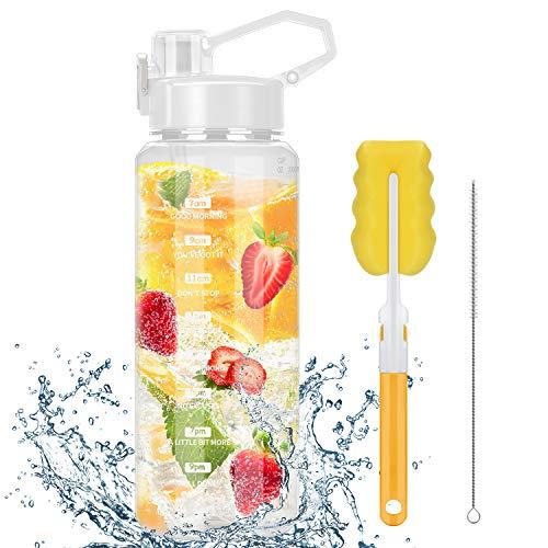 Botella de agua deportiva de 2 litros, Bpa libre, botella de agua motivadora con marcas de tiempo y pajita, a prueba de fugas, gran botella de deporte, botella sostenible (color blanco)