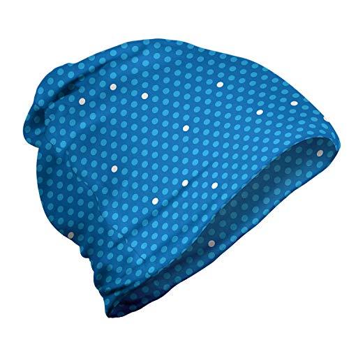 ABAKUHAUS Azul Gorro Unisex, Negrita los Lunares Retro de los niños, Tela Suave 100% Microfibra Estampada Ideal para Actividades al Aire Libre, Azul Azul pálido Blanca