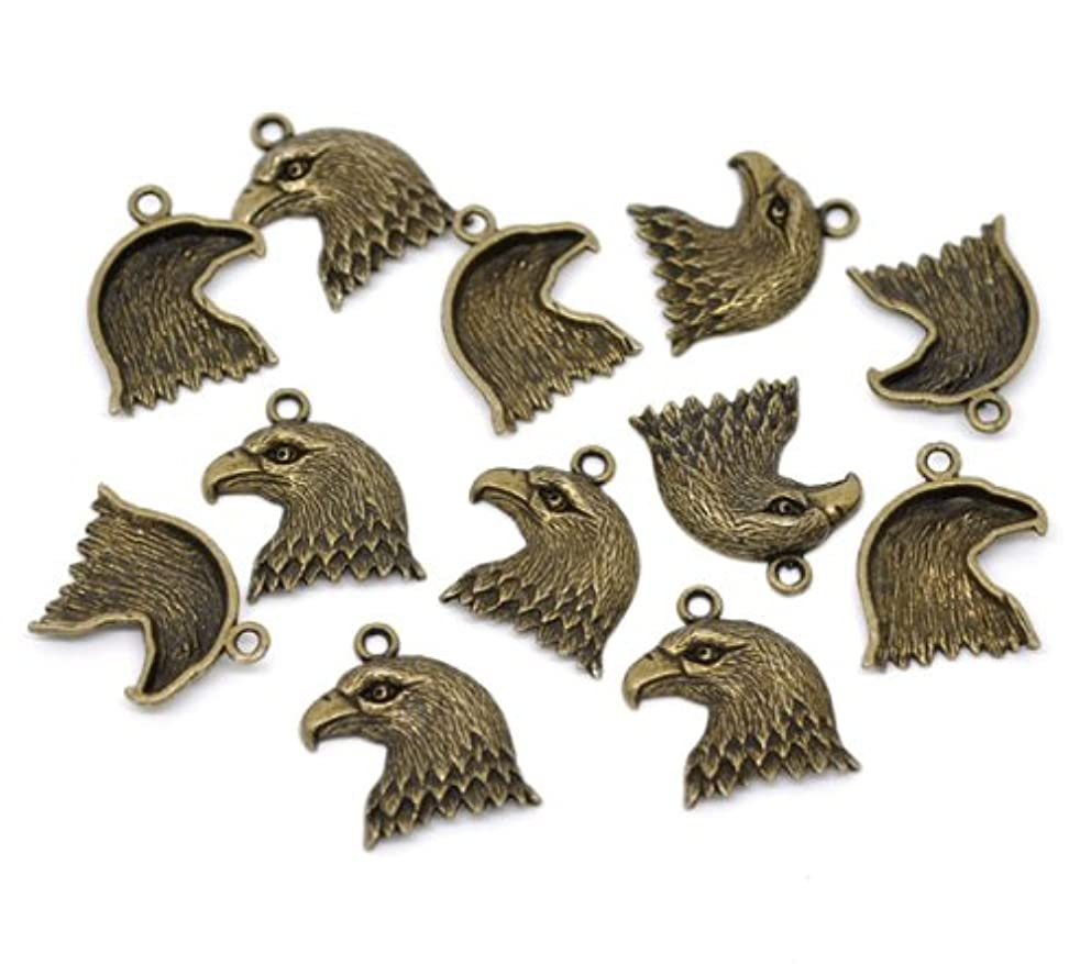 PEPPERLONELY Brand 30PC Antiqued Bronze Eagle Charms Pendants 22x20mm (7/8x13/16 Inch)