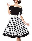 Schwarzes knielanges Swing Kleid im High Waist Schnitt mit Gürtel und Manschetten kariert und schulterfrei bandeau XS