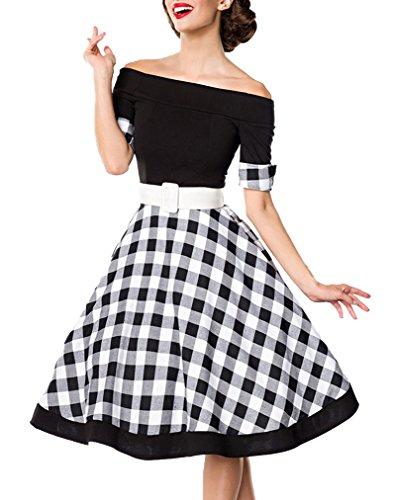 Schwarzes knielanges Swing Kleid im High Waist Schnitt mit Gürtel und Manschetten kariert und schulterfrei bandeau XL