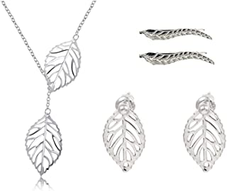Fuqimanman2020 Boho Necklace Leaf Pendant Necklaces Chain Bracelet Earring Jewelry Set for Women and Girls