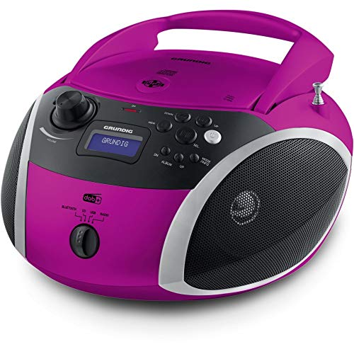 Grundig GRB 4000 BT DAB+ Tragbare Radio Boombox mit Bluetooth und DAB+ Empfang Pink/Silber