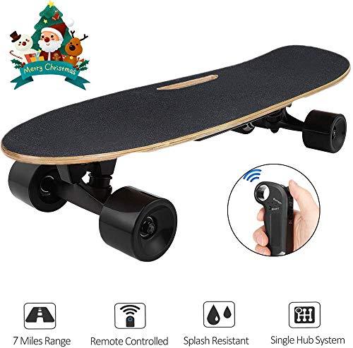 Hiriyt Elektrisches Skateboard Longboard Skateboard mit Funkfernbedienung auf Vier Rädern, Höchstgeschwindigkeit 20km/h (Schwarz)