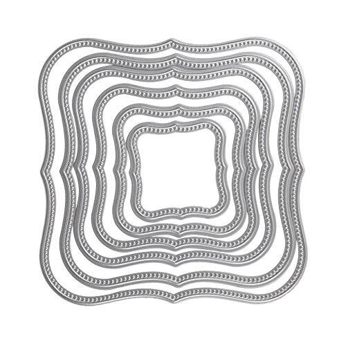 Demiawaking 6Pcs Quadratischen Rahmen Form Schneiden Schablonen DIY Sammelalbum Dekor Papier Karten, Metall Buchzeichen, Metall Lesezeichen als Geschenk Fuer Freunde (10)