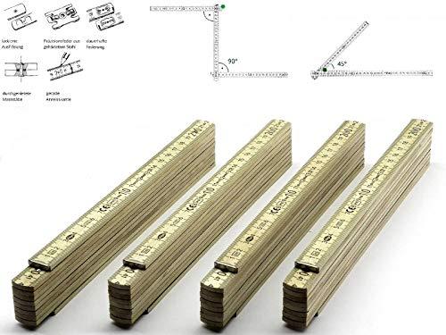 4 Stk. Adga 250 plus Qualitäts Meterstab natur 2m Holz Winkelübersicht 90 180 Grad Rastung gerade Anreißkante