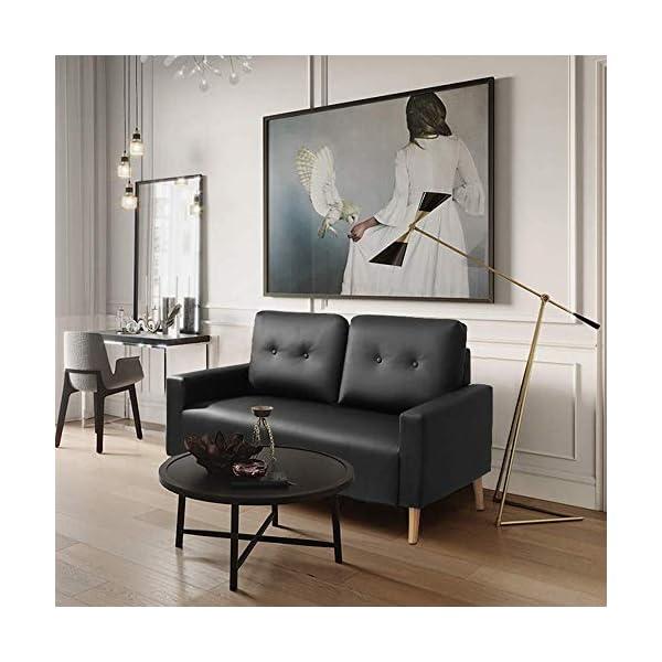 Mid Century Modern PU Leather Upholstered Living Room Loveseat 3