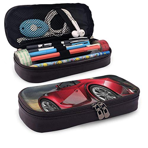 Estuche de piel para lápices, moderno rojo deportivo para coche en un cielo dramático, con motor fuerte Cloudscape oscuro, estuche para bolígrafos de oficina, 19,8 x 11,4 x 3,8 cm