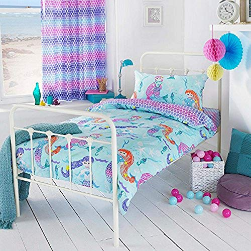 Riva Paoletti Kids Mermaid Single Duvet Cover Set - Multicolour Blue - Reversible Underwater Mermaid Design - 1 x Pillowcases Included - PolyCotton - Machine Washable - 137 x 200cm (54' x 79' inches)