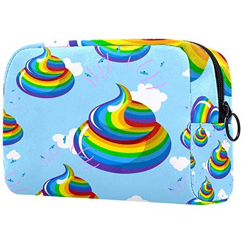 Kosmetiktasche Lustiges Regenbogen-KOT-Blau Schminktasche Tragbar Voller Druck Reise Make Up Tasche Kulturbeutel für Frauen Mädchen 18.5x7.5x13cm