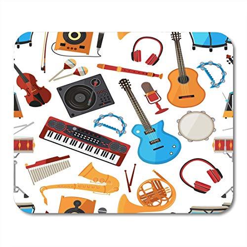 Mauspads Bunte Lautsprecher Verstärker Synthesizer und andere Musikinstrumente und Zubehör mit musikalischem Guita-Mauspad für Notebooks, Desktop-Computer Büromaterial