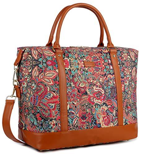 BAOSHA Damen Carry-on Reisetasche Frauen Reise Duffel Weekender Tasche Segeltuch Wochenende über Nacht Handgepäck HB-28 (Mehrfarbendruck HS)