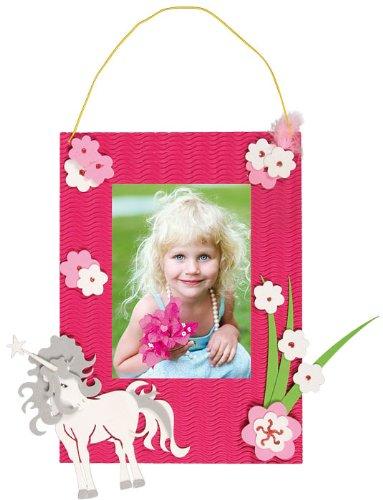 alles-meine.de GmbH Bastelset 3-D Fotorahmen - für das Foto Einhorn pink Mädchen - Bilderrahmen Fotos Schulanfang Foto Kinderzimmer
