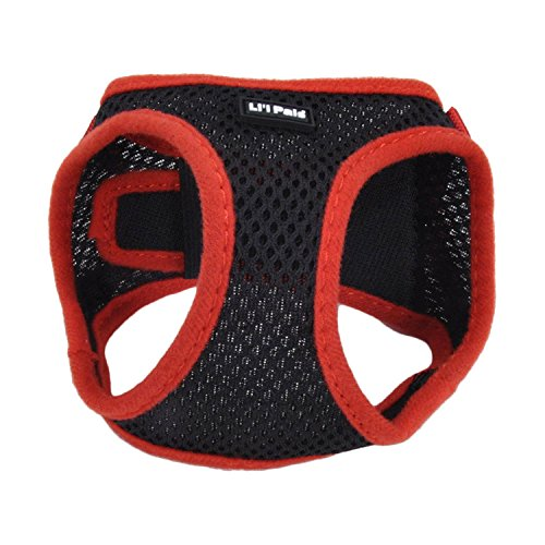 Lil Pals Mesh Comfort Mesh Adjustable Step-in Dog Harness for Puppies and Toy Breeds (Black, Small)