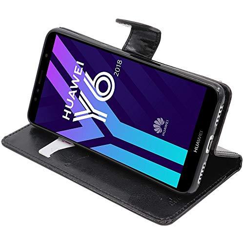 ebestStar - Funda Compatible con Huawei Y6 2018 Carcasa Cartera Cuero PU, Funda Libro Billetera Ranuras Tarjeta, Función Soporte, Negro [Aparato: 152.4 x 73 x 7.8mm,...