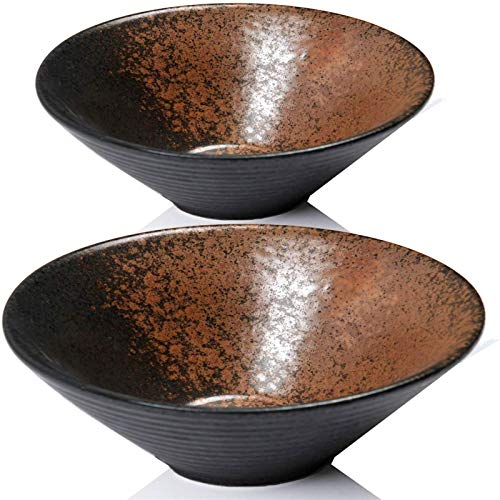 HUAQINEI Juego de tazones de cerámica de 2 tazones de Fideos Ramen japoneses de 23,5 oz, Aptos y duraderos, Aptos para lavavajillas y microondas para Sopa Pho Udon Soba y Wonton